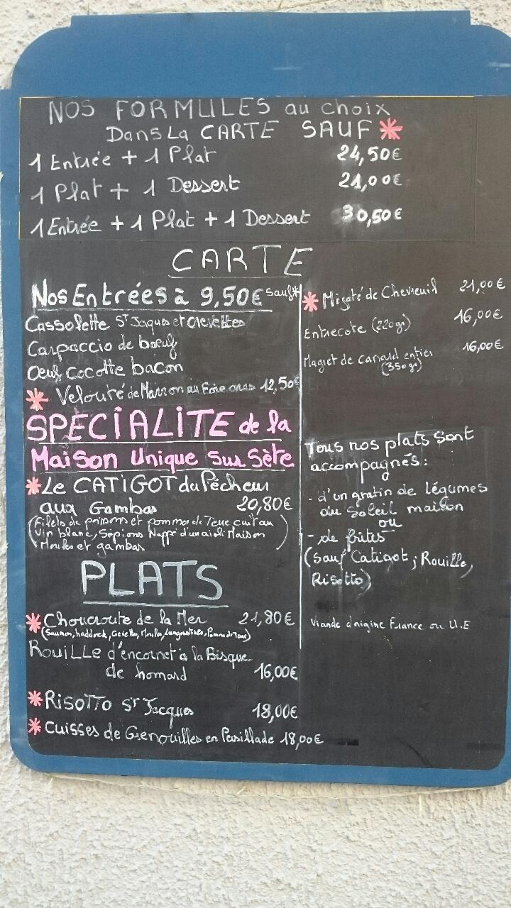 carte du restaurant La Pomme de Pin à Sète