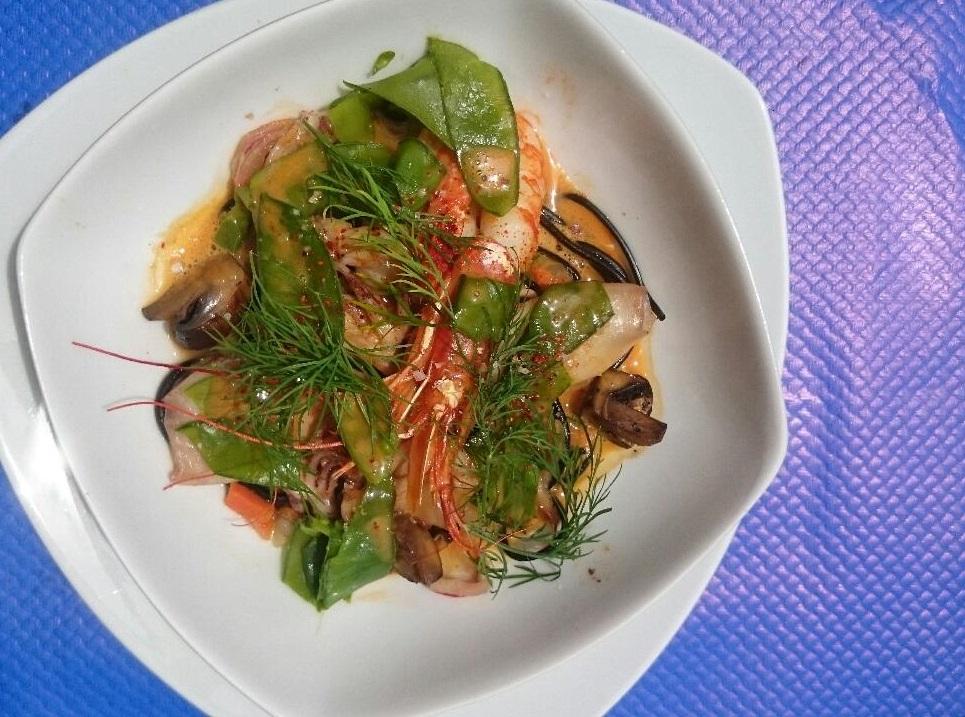 fricassée chipiron crevette