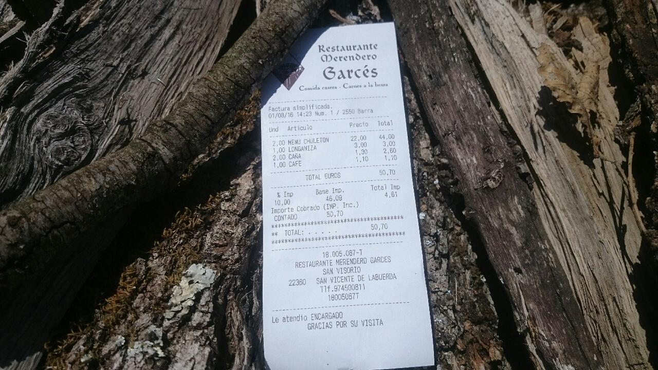 menu addition restaurante garcés san vincente ainsa
