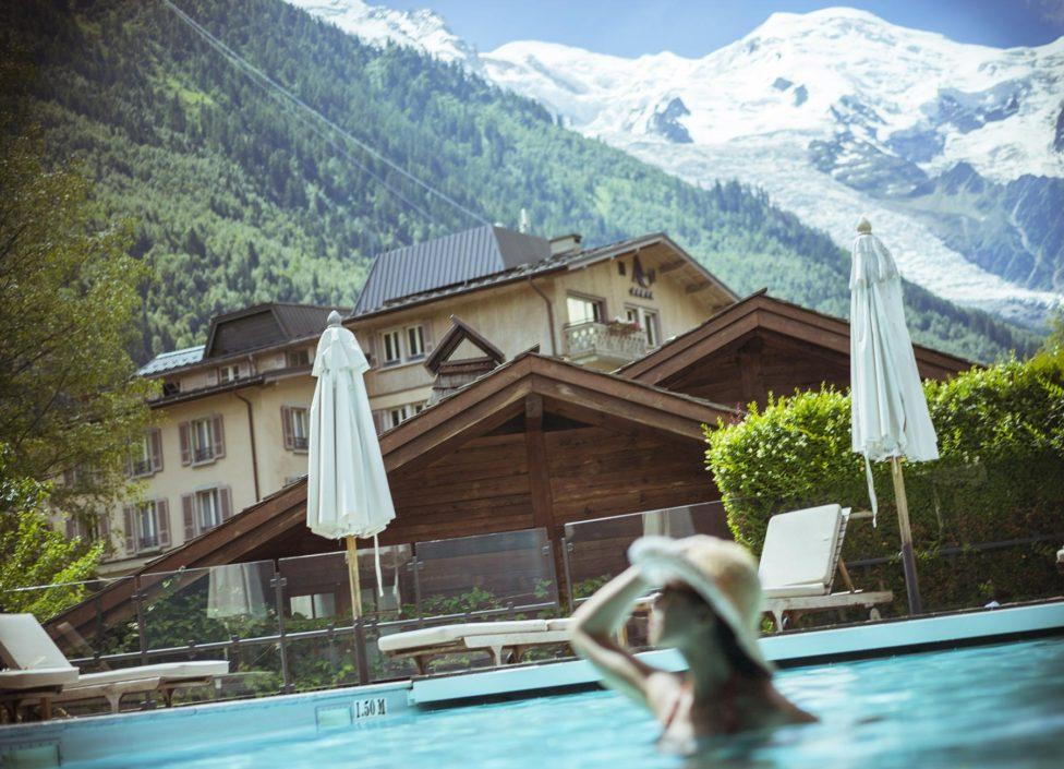 Vue Mont-Blanc Hôtel Spa 5 étoiles Hameau Albert 1er Chamonix